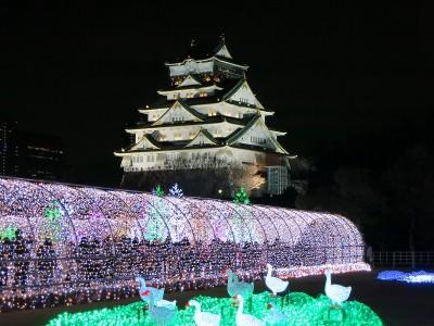 大阪城とイルミネーション