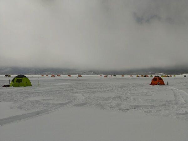 桧原湖 氷上ワカサギ釣り